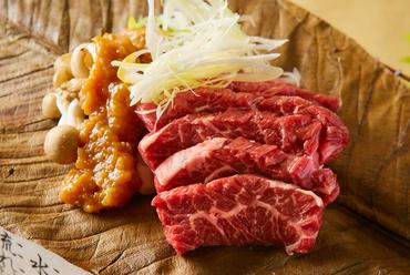 特選牛の朴葉味噌焼き