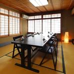 接待や会食、顔合わせにふさわしい、テーブル式のお座敷個室