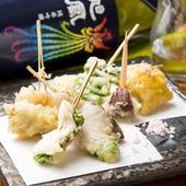 旬の味覚を召し上がれ『魚串野菜串の天麩羅』