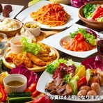 当店一番人気の4種のお肉の贅沢山盛りプレート、鮮魚介のお料理などがついた大満足の宴会コースです!