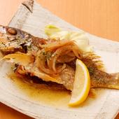 『鮮魚一尾』 ※画像は一例です。鮮魚は『ヤマトビー』。バター焼きにしています