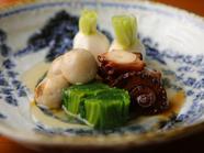 絶妙な火入れ加減で、極上の柔らかさを保つ『季節の野菜と蛸の柔らか煮』