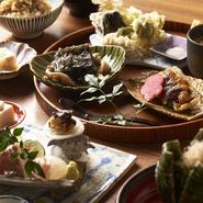少量多種、ひと口サイズの旬彩の取り合わせ。お皿の上にあらゆる和食の技法が散りばめられています。