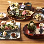 ・三元豚の胡麻だれしゃぶしゃぶ ・海老と野菜の天ぷら ・小鉢 ・御飯 ・留め椀 ・香の物 ・甘味