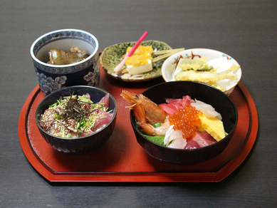 【全5品】魚メインの人気メニューと5種の海鮮を含めた海鮮丼『五輪丼コース』