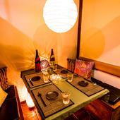広々とした和の趣漂う完全個室は2名様からご利用いただけます♪