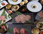 宮崎牛の高級部位が楽しめて、前菜・お食事・デザートまでついた大満足のコース。