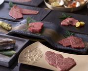 松阪牛の高級部位や海鮮焼きに、前菜・お食事・デザートまでついた特撰コース。