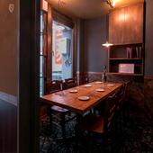 最大7名まで入れる完全個室で、プライベート感のある食事会を