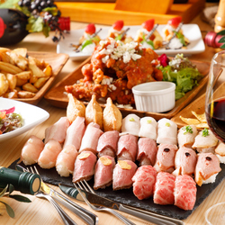 馬肉・サーロイン・黒毛和牛・・・話題のユッケ寿司含む豪華肉寿司がなんと食べ放題!※当日予約不可