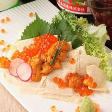 本日の朝〆 海鮮魚介と季節野菜のサラダ