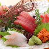鮮度抜群の魚介類を味わえる『刺身 五点盛り』