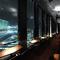 目前に広がる夜景の窓際カップルソファ
