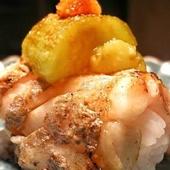 焼きトロ太刀魚 上に焼きナス