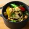 『帆立とサザエ 季節野菜のエスカルゴバターソテー』