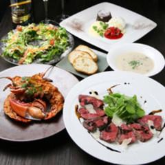メインディッシュは大人気の総料理長自慢の特製ローストビーフ!! 飲み放題付き4,650円コース。※曜日限定