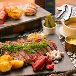 「愛知牛ステーキ」をメインに、自家製ローストビーフや馬鈴薯揚げなど、全7品の料理を楽しめるコース。