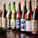 全国各地の地酒が常時250種類程と圧巻の品揃え