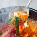 海鮮or豚orホルモン。大仙名物。自家製肉味噌で味付けした特製チゲ。
