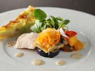 旬の味覚をふんだんに使用。季節ごとに変わる季節のひと皿『前菜の盛り合わせ』