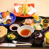 刺身に天ぷらも楽しめるお得で嬉しい昼メニュー『彩り』