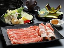 牛肉と豚肉を食べ比べ『二種盛り(和王肩ロース・りんどうポーク)・特旨すき焼き』
