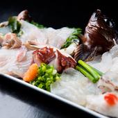 口いっぱいに広がる鮮魚の旨み、次から次へと違う味わいが贅沢に楽しめる『刺身盛り合わせ(金印)』
