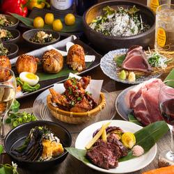 当店一番人気の肉寿司や和牛ステーキ、塩鰹のタタキや鮮魚3点盛などがついた大満足の宴会コースです!