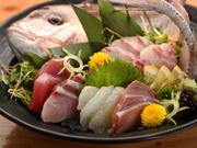 鮮魚店から毎日届く魚、中央市場や舞鶴など日本全国から届く魚など厳選仕入れした魚介類を使った豪華な盛合せです。写真はびんちょうマグロ、鯛、平目、ハマチ、寒八。季節や仕入れ状況で盛合せの内容が異なります。
