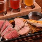 白老牛、サチク麦王豚、知床鶏と、北海道のブランド豚を炭焼ステーキで。クラフトビールとの相性も抜群!