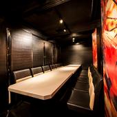デザイナー監修。和の装飾を散りばめたこだわりの完全個室空間