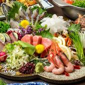 全国各地から仕入れた魚介類を彩りよく盛った、見た目も美しい『本日の鮮魚3点刺し盛り合わせ』