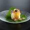 彩りよく和洋折衷の味を楽しめる『馬鈴薯豆腐 白扇揚 蓴菜ジュレ 葉山葵 穂じそ キャビア』