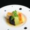 白菜ミルフィーユカツ、蛇腹茄子、海老黄身煮、冬瓜、イタリアンパセリ