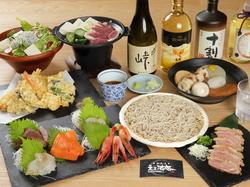 気軽な仲間と楽しめるコースです。 〆の蕎麦はもちろんのこと、つまみの肴・天ぷらもご用意しております。