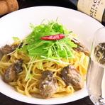 牡蠣と水菜のアーリオ・オーリオ