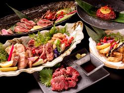 メインは当店名物の肉階段寿司(5種類)、厚切り豚の岩塩焼きをご用意。