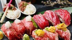 メインは当店名物の肉階段寿司(3種類)、厚切り豚の岩塩焼きをご用意。