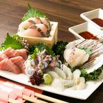 青森県が誇る高級魚、天然の生本まぐろ入り! 旬の味覚三昧の『五点盛り』