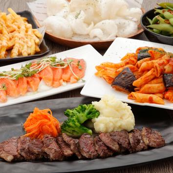 お手軽 肉バルハラミステーキ付きコース 3500円