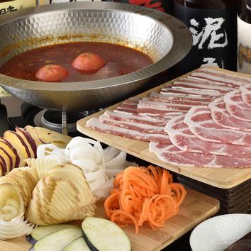 ◆2.5H飲放付!うし串焼きと豚肉と野菜たっぷりベジしゃぶ 3980