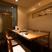 2名から最大24名まで、個室での会食ができる和の空間