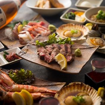 【忘年会・新年会にお勧め】大海老の塩焼付 選べる鍋宴会コース(