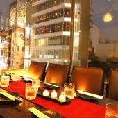 新宿の中心で地上6階から夜景を眺めながら絶品料理を味わう♪
