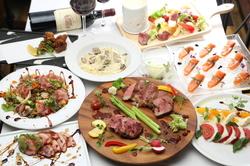カクテル約60種! 豊富な飲み放題「特選和牛のステーキ」や「熟成牛のチーズフォンデュ」等、大満足の内容