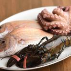 """明石海峡で捕れた""""まえもん""""が競りにかけられる「昼網」で、その日の鮮魚を仕入れ。市場から約100mにある店で調理するので、鮮度&持ち味そのまま。明石・加古川などの農家から直送する野菜も滋味に富むおいしさ!"""