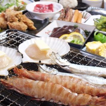 ◇海鮮浜焼き盛付オーダーバイキング120分食べ飲み放題 3990円