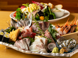 <夏の味覚>お刺身はもちろん、契約農家直送のお野菜、こだわりの食材なども取り入れた万能コースです!