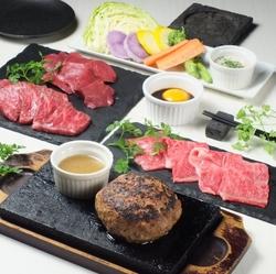 豆腐サラダ、和牛焼寿司、和牛焼シャブ、和牛ランプ、和牛ハンバーグ、和牛ハツ、デザート等9品付き