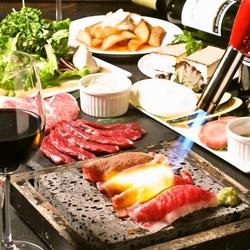 和牛焼寿司・バーニャカウダー風焼野菜・ハラミ・銘柄豚等7品!心行くまで溶岩焼きを体感ください!